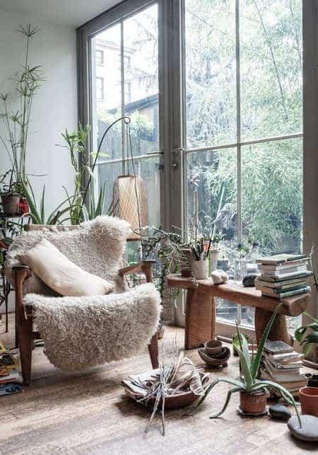 прозорец и флора в интериора и екстериора